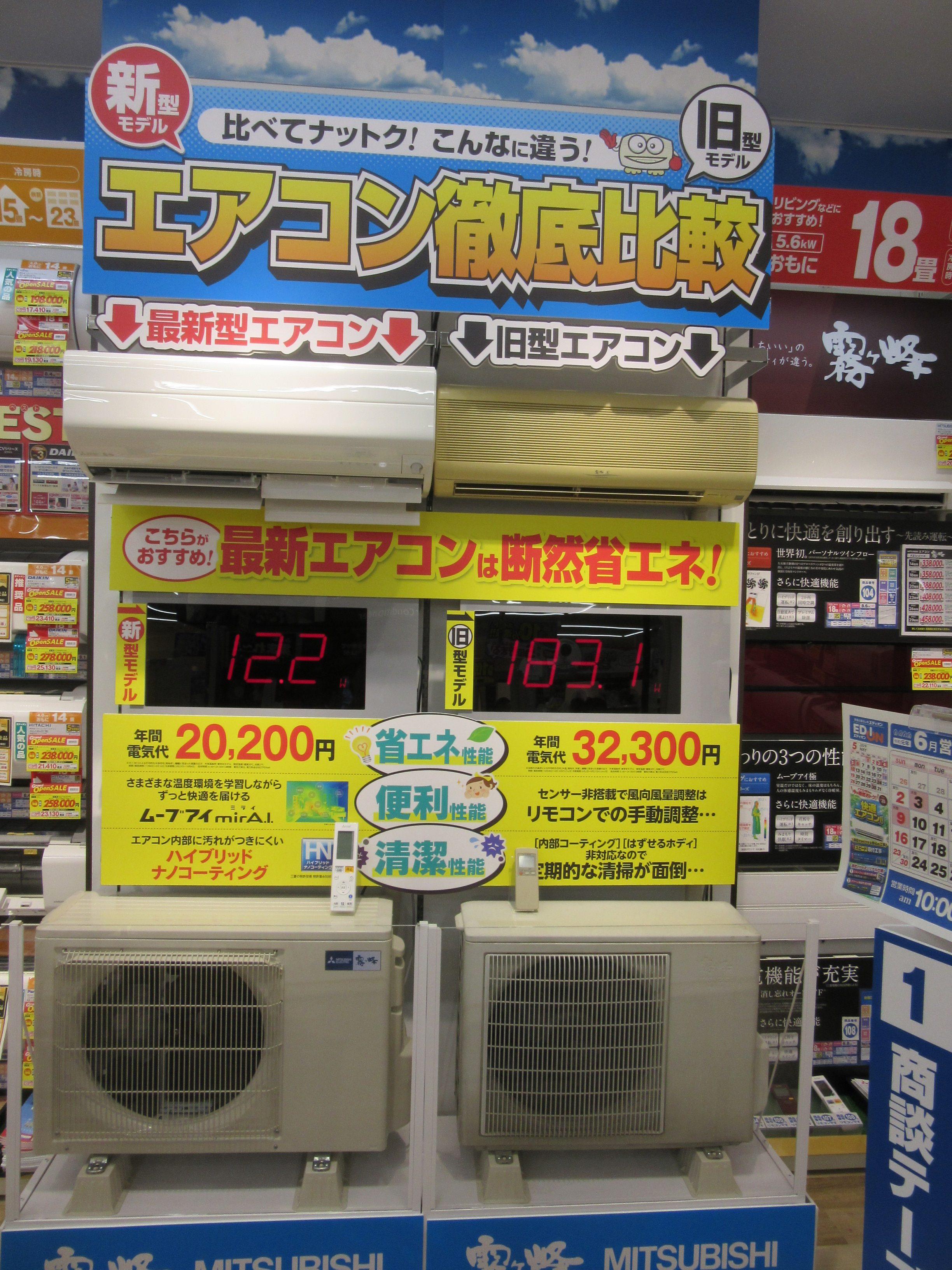 エアコンの新旧比較では電気代にフォーカス。訴求したいポイントを文字の大きさや色で表し、分かりやすい表示になっている