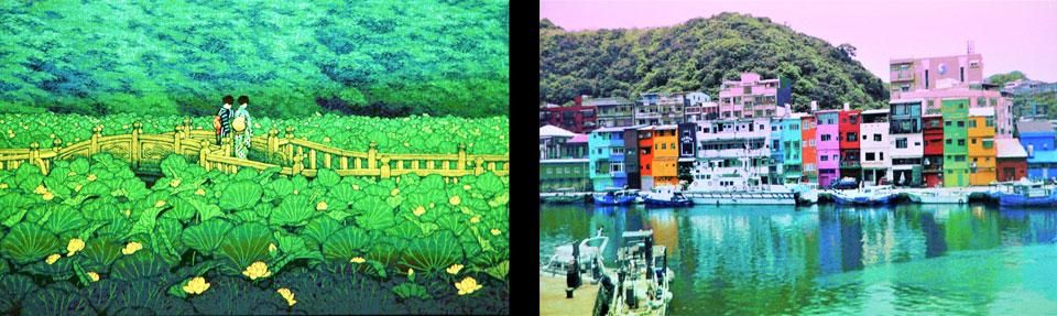 月額制のサービスで、動く浮世絵や世界の風景などのコンテンツも配信され、壁面に投影し、BGVとしても楽しめる