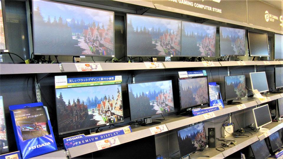 マウスやキーボード、ディスプレイは、ゲーミングコーナーに展示しているという店舗も多い