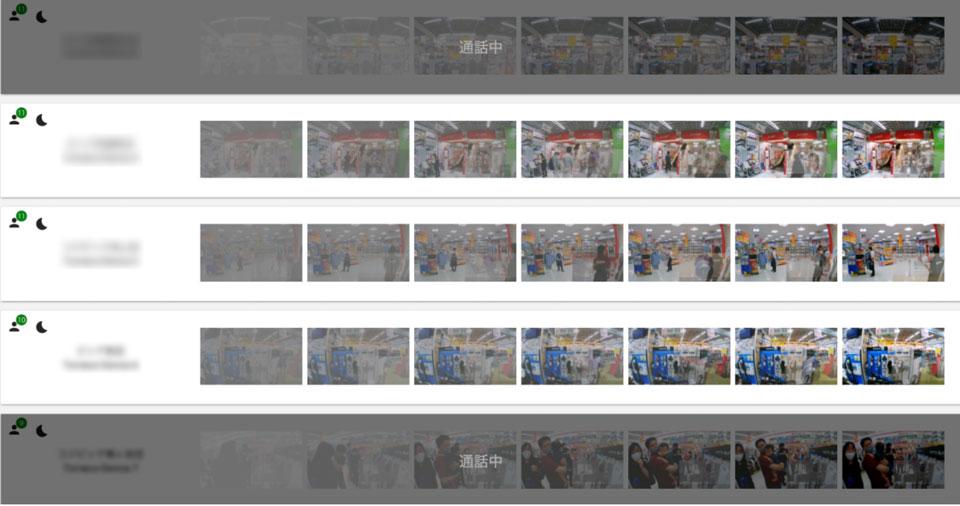 オペレーターが待機している画面では、数秒おきにキャプチャしたカメラの画像が、店舗ごとに並ぶ。縦軸が店舗、横軸が経過時間だ