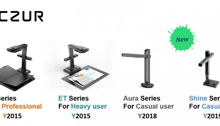歴代のCZUR社の非破壊タイプのスキャナー。全世界でこれまでに累計で20万台以上を販売している。
